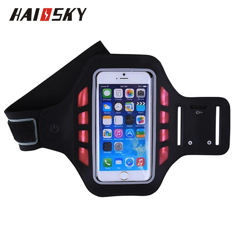 HAISSKY 2016 newest Unisex 8 LED lights Safety Outdoor Neoprene Sports Armband For iPhone 6