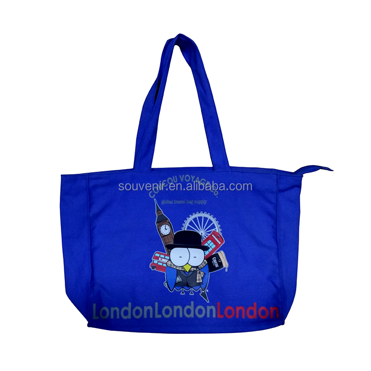 Blue canvas London city souvenir hand bag