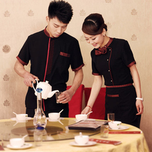 western restaurant waiter overalls hotel uniform with short sleeves