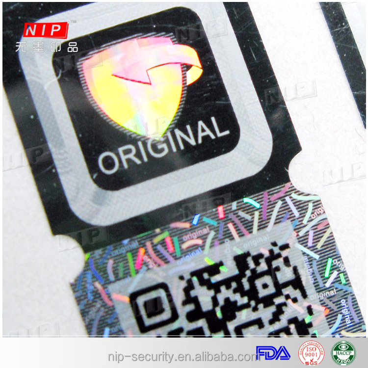 Square holographic adhesive letters sticker printer with security barcode