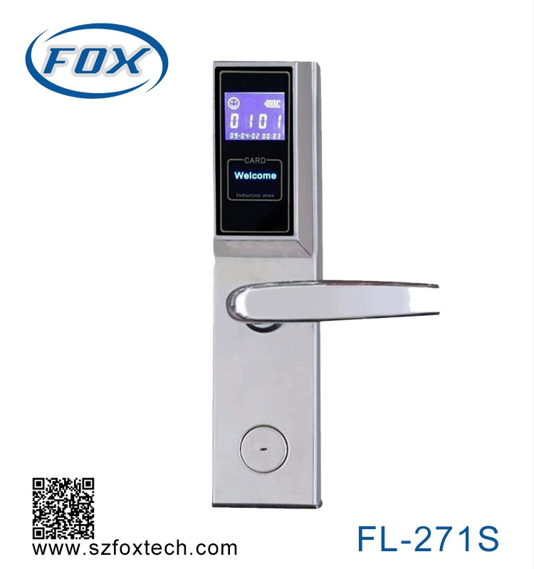FOX electronics LCD Panel security wooden door locks for hotel