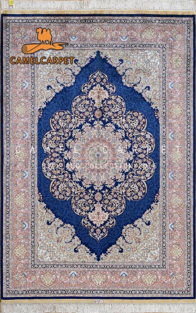 Brillante Azul Alfombra De Seda Oriental Zona Kerman
