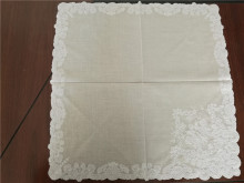 white cotton and polyester designe embroidery lace handkerchief
