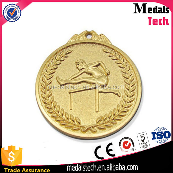 2017 new design gold plated round shape zinc alloy hurdles medal for race