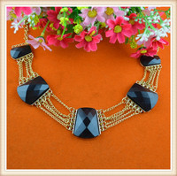 2015 latest elegant beaded necklace black rhinestone decoration necklaces /gold chain necklace design