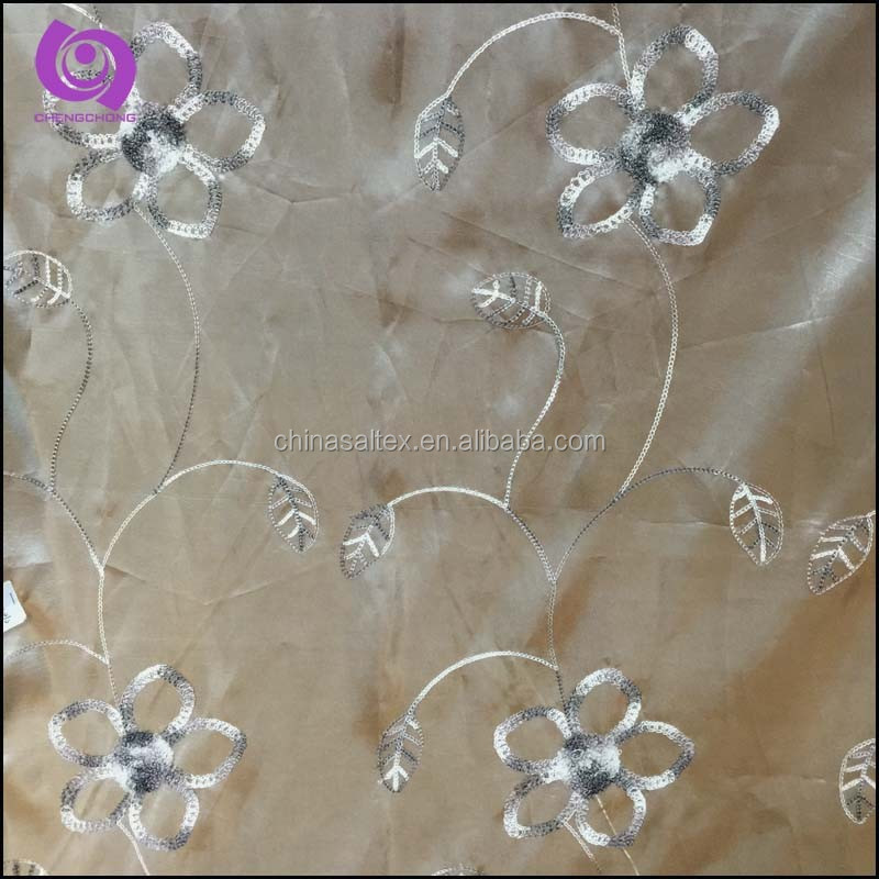 Home Textile Floral Embroidered (EMB) Taffeta Curtain Fabric
