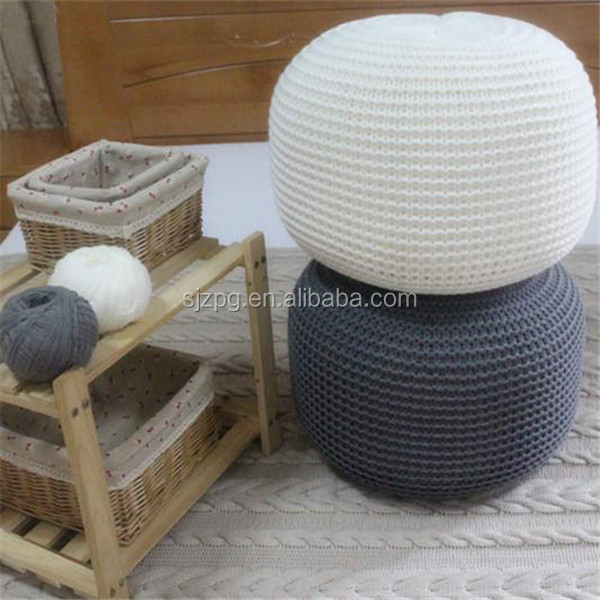 knitted cotton floor baby pouffe