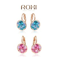 ROXI rose gold handmade jewelry pink blue crystal drop earrings for women