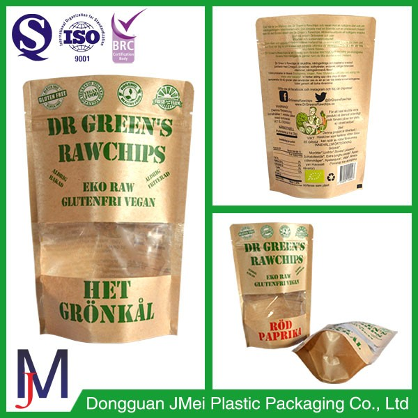 Zipper top small kraft paper standing up food grade packaging pouch with window