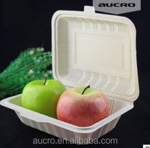 biodegradable corn starch disposable plastic sectioned food container,take away fast food packaging lunch box