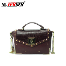 MD9100 Hot Sell Quality Crocodile Hard Leather Handbag with Gold Chain Wine Bag Stud