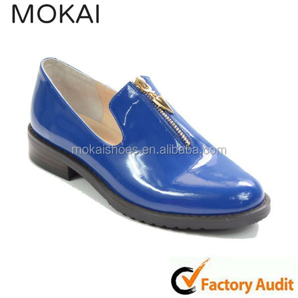 MK001-12-Blue new style high quality genuine leather fashion loafers shoe,women flat shoes 2015