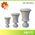 White European Raised Line Tall Round Flower Pots and Urns
