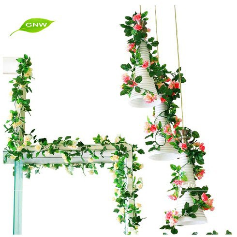 GNW FLV15 Wholesale Artificial Plastic Rose Vine for Garland used in wedding decoration