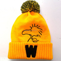 Cartoon Winter Pompom Beanie Towel Embroidery Warm Hat