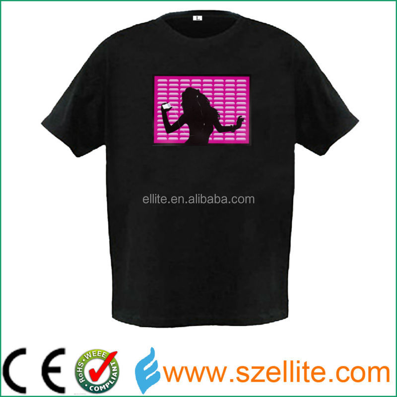 2015 newest design high quality el panel t-shirt