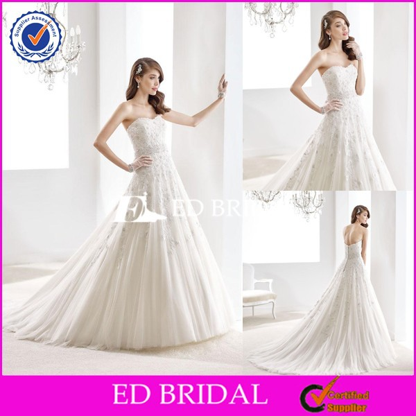 CE1338 Gorgeous A-Line 2016 Appliques Lace Flower And Beaded Brazilian Wedding Dresses