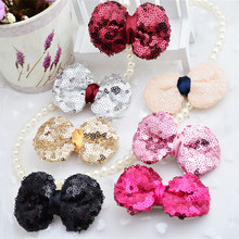 Wholesale hairbow <strong>hair</strong> <strong>accessories</strong> colorful sequins <strong>hair</strong> bows <strong>hair</strong> clips for kids AHC1006-2