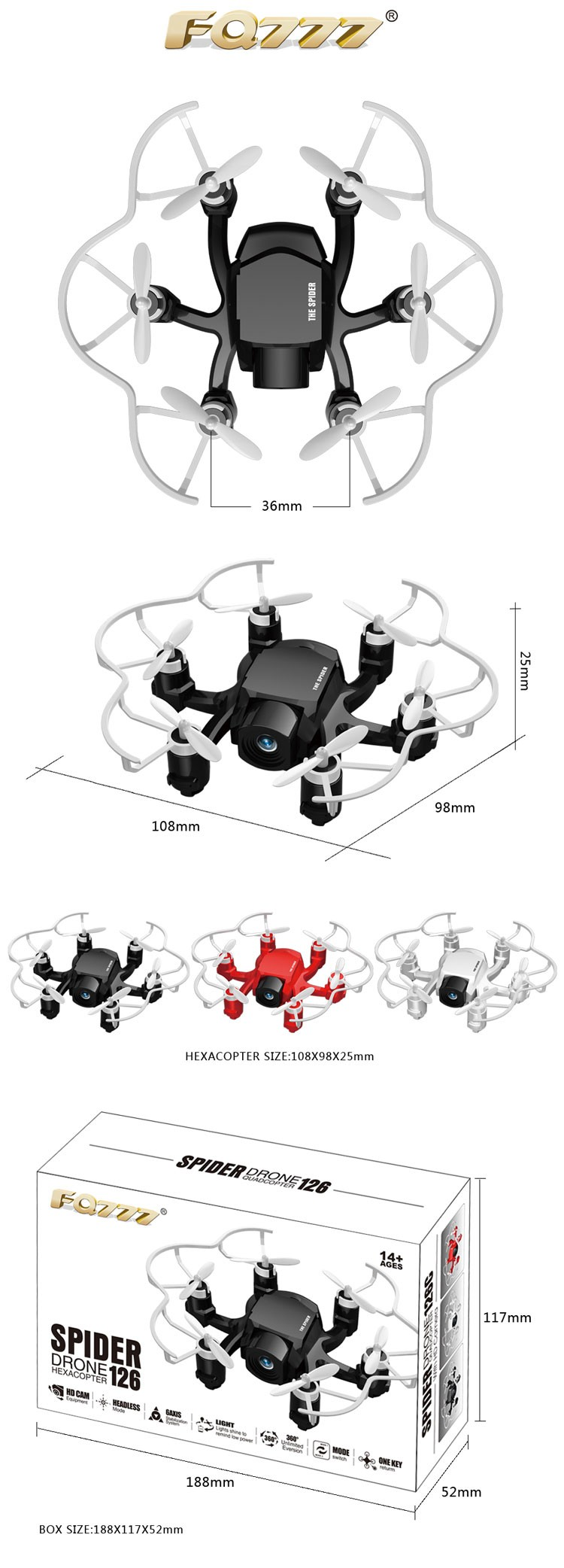FQ777-126C 720P Pixel Drone Mini with Camera