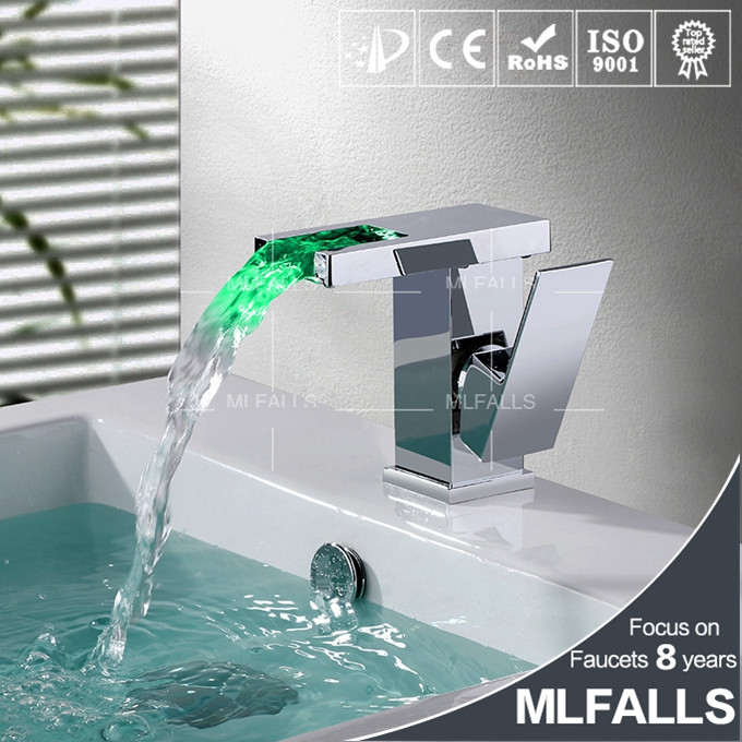 LED Bathroom Basin Faucet Brass Mixer Tap Chrome Polished Waterfall Faucets