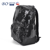 Factory direct Black sequined Fashion Travel Backpack for girl