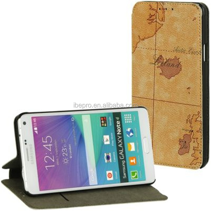 World Map Printing Leather Case for Samsung Galaxy Note 4
