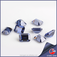 Wuzhou high quality emerald cut 8*10mm synthetic Tanzanite loose gemstone
