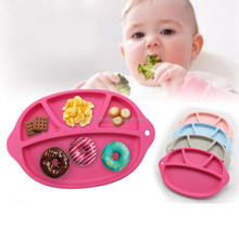 Baby Placemat Functional One-Piece Silicone Feeding Tray / Bowl; Strong Suction Bowl Keeps Divided Baby Plate in Place