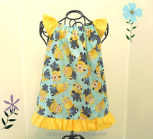 Hot sale printed children clothes lovely baby dress cutting kids frock designs pictures handmade baby crochet dress