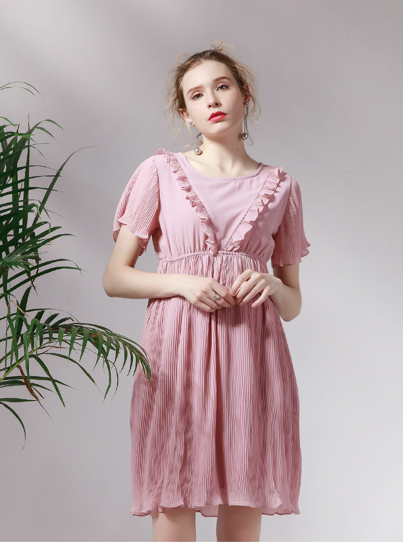 Chiffon 2017 Latest sweet pregnant pink dress decorative border plus size Maternity Women Clothes