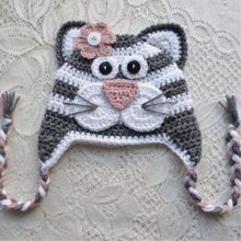 Hand crochet winter tiger hat with ears newborn infant children kids grey and white cap beanie