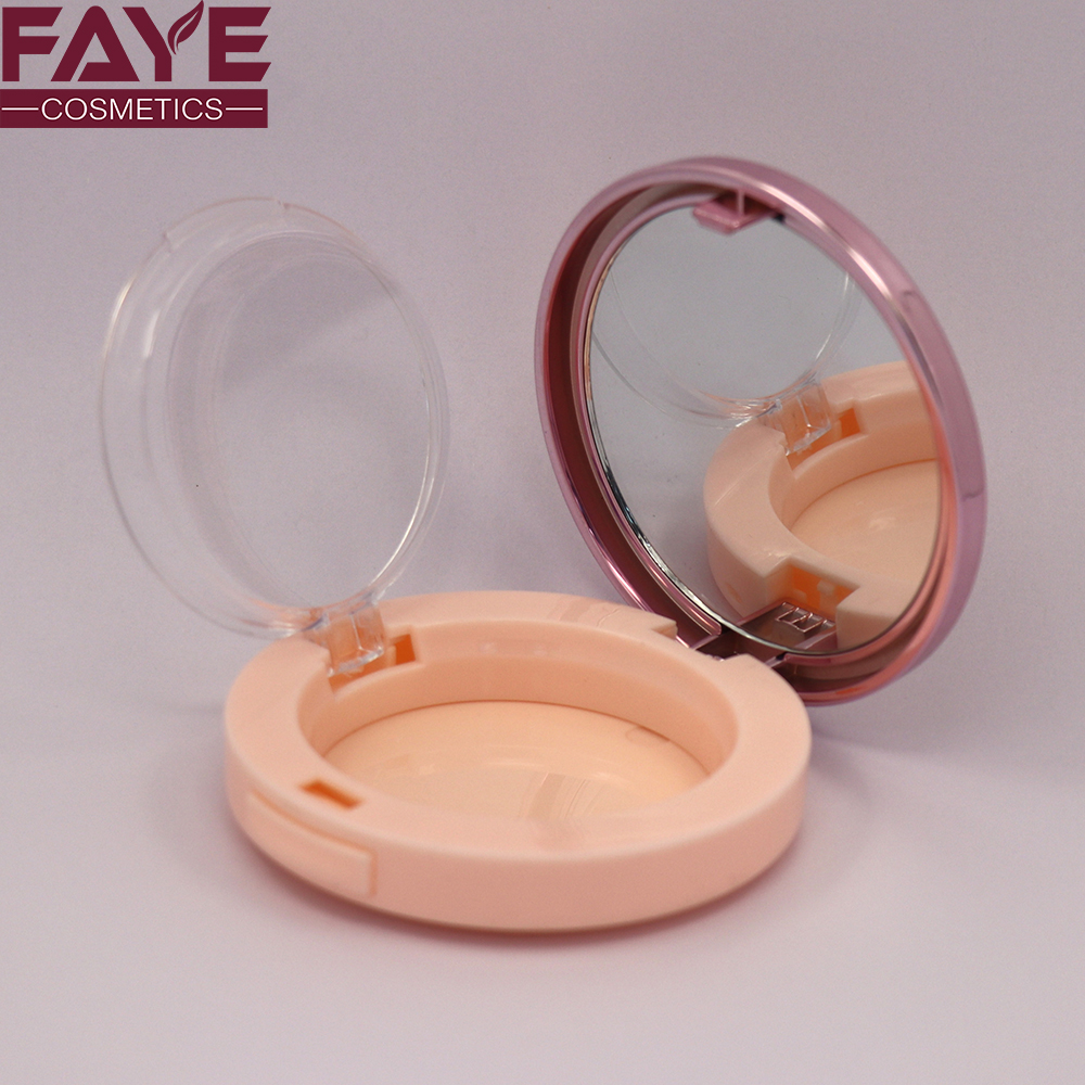 Profession custom pink makeup plastic compact powder blusher case cosmetic packaging container