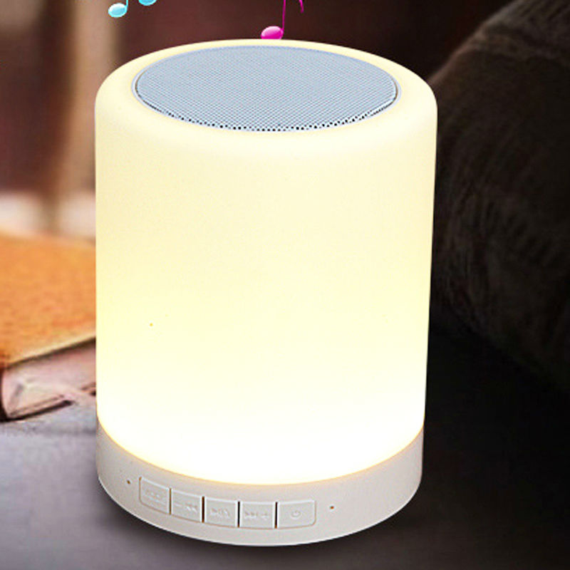 Night Light Portable Wireless Bluetooth Speaker with Touch Control Color LED Bedside Table Lamp