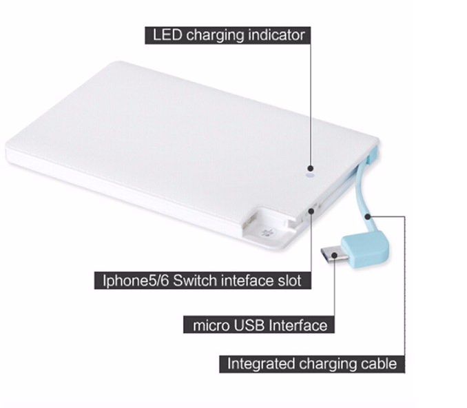 smart mobile flast custom power bank charger with 2500mAh