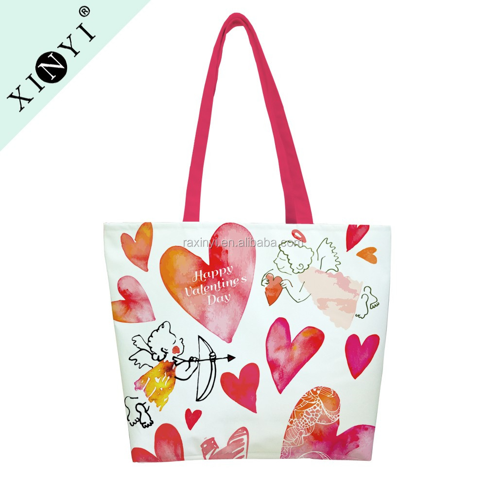 Valentine design fashion reusable canvas shopping bag promotional eco friendly customised tote bag blank