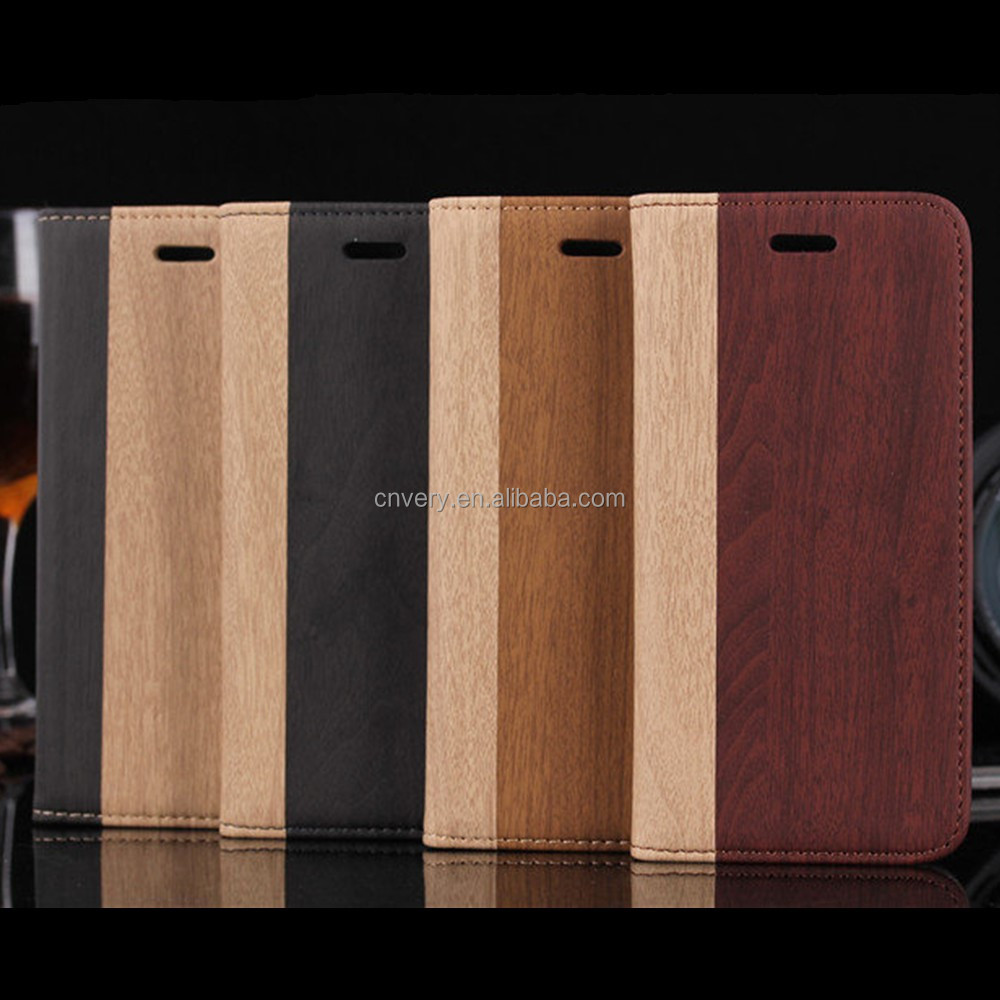 luxury stand flip mobile phone leather bag for iphone 6 case wood phone case for iphone 7