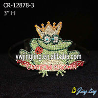 valentine rhinestone small frog tiara pageant crown