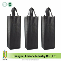 Black Non Woven Holiday Reusable Gift Tote Single Wine Bottle Bag