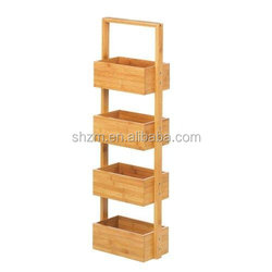 High quality Bamboo Rectangular 4-Tier Spa Tower Rack black and carbonized For Bathroom Accessories