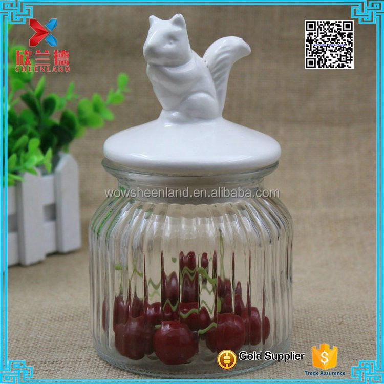 ceramic lid clear glass sealed pot snacks candy jar 650ml