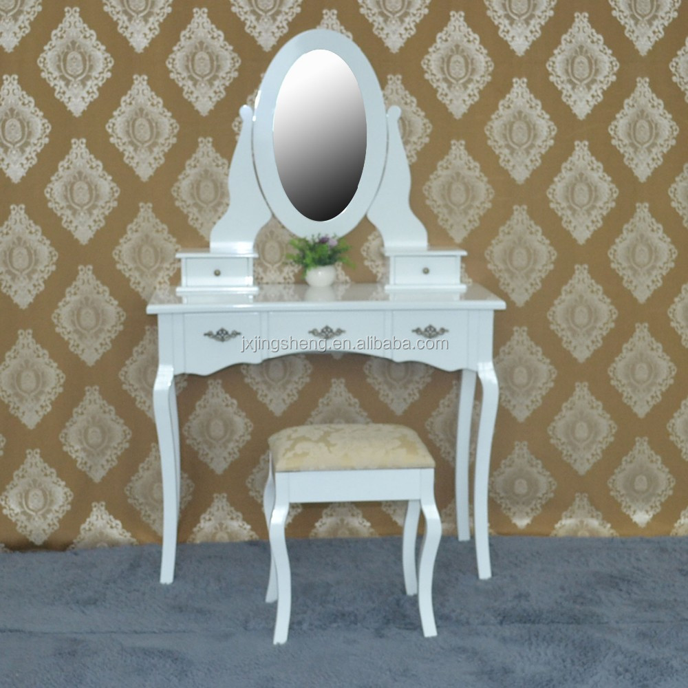 Wooden dresser bedroom furniture wall mounted cosmetic table mirror modern dressing table with stool