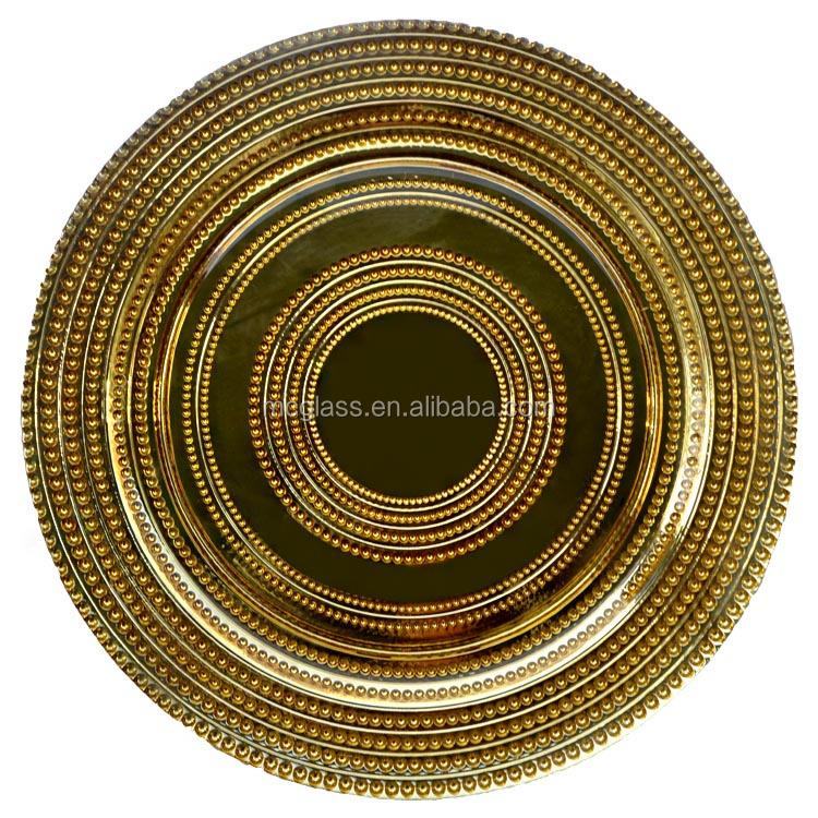 High Quality Wholesale Restaurant Dinner Plates Gold Silver Trim Glass Charge