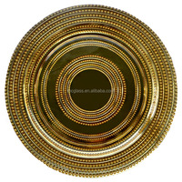 High Quality Wholesale Restaurant Dinner Plates Gold Silver Trim Glass Charger Plate