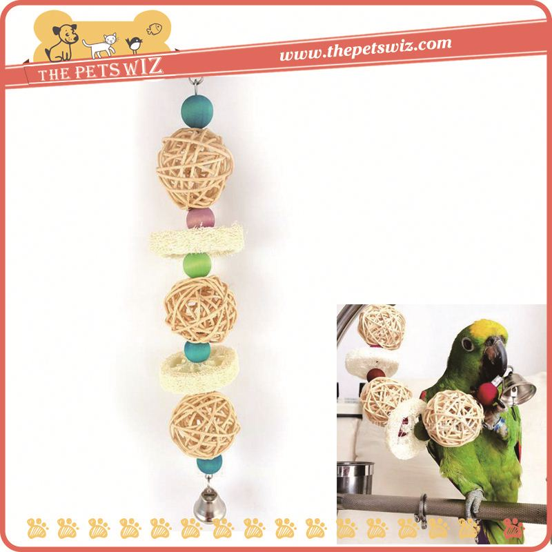 Natural color luffa rope toy for parrot bird , p0wmv small parrot loofah bites toys for sale