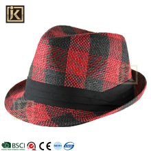 JAKIJAYI brand custom design cheap summer plain dyed paper straw fedora hat for men women