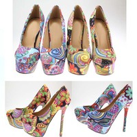 SAA4700 Exotic women high heel shoes fashion bohemia style floral ladies high heel shoes 14cm