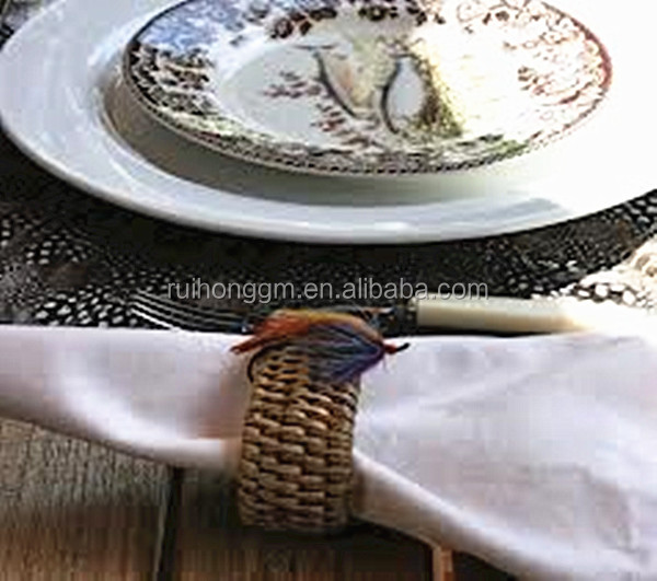 RH-YF21 wholesale weaved bracelet decorating towel ring rattan napkin ring