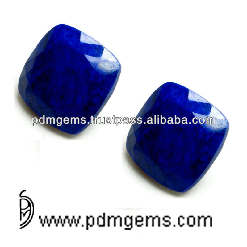 Gems Top Quality Lapis Cushion Faceted Pair