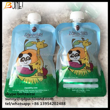 Customized Easy to fill and clean BPA free reusable baby food spout pouch / reusable food pouch