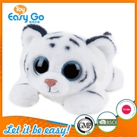 Hot Sale Super Soft White Simulated Lying Plush Baby Tiger Toy Big Shiny Eyes for Ornament